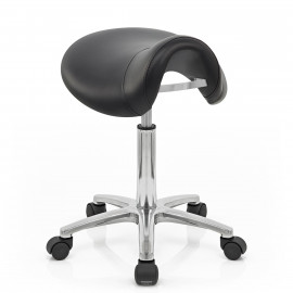 Sgabello con rotelle Ecopelle Cromato - Deluxe Saddle